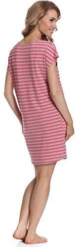 Merry Style Damen Nachthemd MS539 Grau/Himbeere