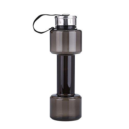 (Fdit Sports Wasserkocher Hantel Form großes Fassungsvermögen Gym Wasser Flasche Kunststoff Cup für Fitness Fitness Camping Radfahren Schwarz)
