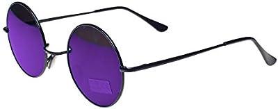 Redondo Lennon Gafas Gafas de sol 50S Cyber Steampunk gafas Vintage Retro Estilo Hippy Ganja Weed Leaf