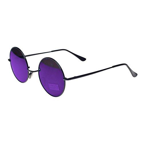 Round Lennon Glasses Steampunk Sunglasses 50s Cyber Goggles Vintage Retro Style Hippy Ganja Weed Leaf (Blue mirror) MFAZ Morefaz Ltd
