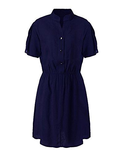 ZANZEA Donna Estate V-Neck Maniche Corte Massimo Bodycon Maglietta Mini Vestito Blu scuro