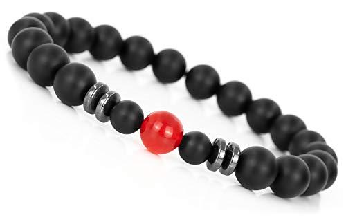 Mister Boncuk® Rote Chakra Perlenarmband mit 8mm Jade Perle und Onyx-Naturstein - Yoga Armband aus Heilsteinen - Sport Energiearmband für Damen und Herren (Größe 19.5 CM) (Jade Rot)