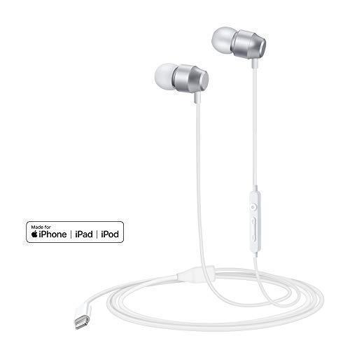 PALOVUE Earflow In-Ear Lightning Kopfhörer Magnetischer MFi Zertifizierter Ohrhörer mit Mikrofon-Controller für iPhone X/XS/XS Max/XR iPhone 8 / P iPhone 7 / P (Metallic Silber) thumbnail