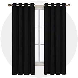 Deconovo Lot de 2 Rideaux Occultants Blackout Curtain de Maison à Oeillets 135x240cm pour Garçons Noir