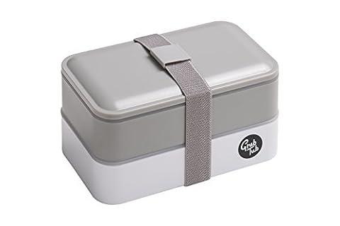 Premier Housewares Grub Badewanne Lunchbox mit 2Behältern und Besteck, plastik, grau, 11 x 18 x 9.5 cm