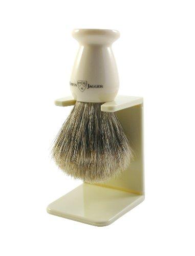 Edwin Jagger Best Badger Dachshaar-Rasierpinsel mit Tropfständer, Elfenbeinimitation, klein, 1er Pack (1 x 1 Stück) -