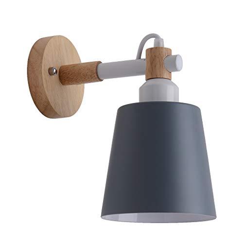 XLGX Tête De Frais En Bois Massif Tête Simple Appliques Applique Nordique Bedside Personnalité E27 Applique Murale Simple Salon Chambre Lampe Enfants Chambre Allée Escalier Lumière Illumination (Gris)
