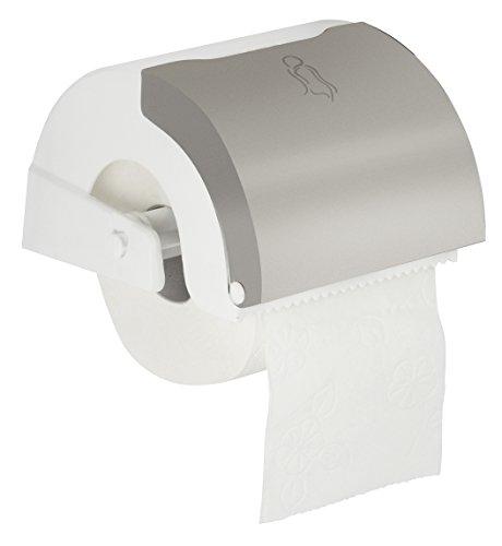 Fackelmann 61161 Support de Papier Toilette avec Réservoir de Tampon Acier Inoxydable Blanc/Argent 16 x 13,5 x 10 cm