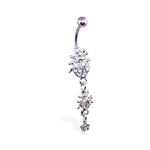 MsPiercing Navel Ring With Dangling Jeweled Ladybugs And Flower