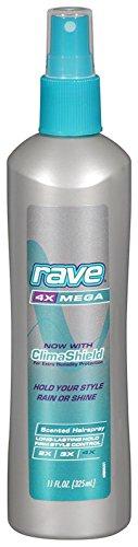 Rave 4X Laque capillaire Rave - Non aérosol - Parfumée - Tenue méga - 310 g