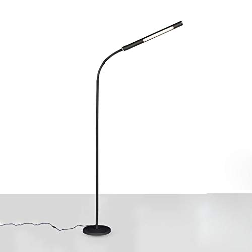 DGF LED moderne Stehleuchte, flexible Leseleuchte mit Schwanenhals/stabiler Fuß, geeignet für Wohnzimmer Schwarz -