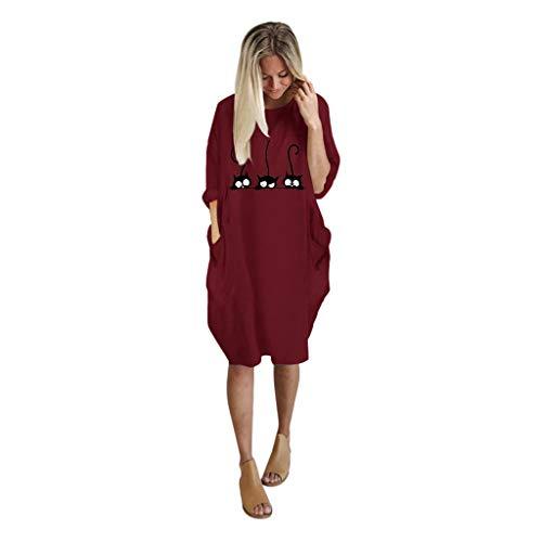 VRTUR Robe Pullover Femme Grande Taille À Manches Courtes Casual Mini Robe Tunique Longue Col Rond Chemisier avec Poches Chic(B-Rouge,XXXL)