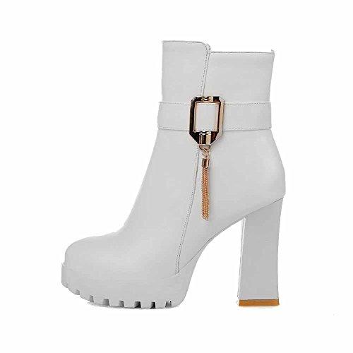 VogueZone009 Donna Cerniera Tacco Alto Puro Bassa Altezza Stivali con Ornamento Di Metallo Bianco