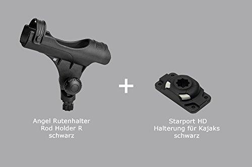 Set: Rod Holder R + Starport HD (schwarz) Railblaza Rutenhalter Kajak 04-4082-11