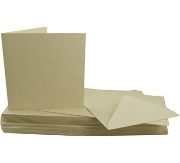 Craft UK - Set da 50 biglietti di auguri e buste quadrati in cartoncino, 15 x 15 cm, colore: Avorio