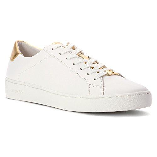 Michael Kors Sneaker Irving Lace Up Optic White Pale Gold Mirror Metallic Weiß