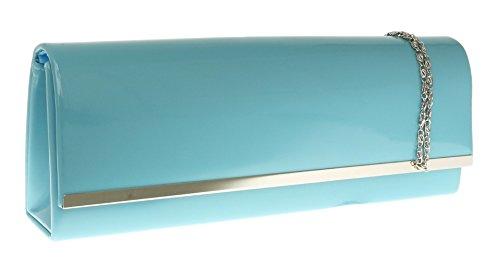 Girly HandBags Abricot Brun Verni Sac d'embrayage Lustré Soirée étui rigide Chocolate Beaver Bleu Menthe