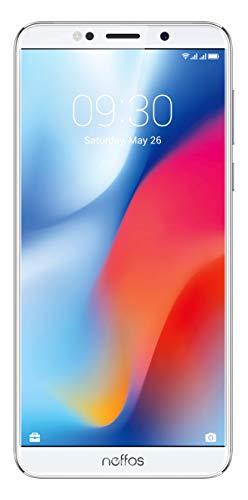 TP-Link Neffos C9 Selfie-Smartphone ohne Vertrag, 5,99 Zoll HD+ Display (15,21 cm), 16GB, Dual SIM + microSD Kartenslot, Fingerabdruck, Gesichtserkennung, 13MP, Android 8.1 (NFUI), moonlight silver