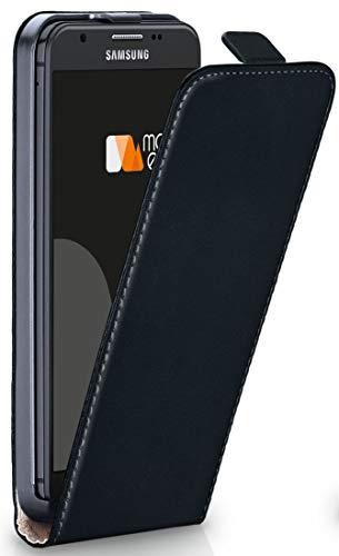 MoEx® Flip Case mit Magnetverschluss [Rundum-Schutz] passend für Samsung Galaxy J3 (2017) | 360° Handycover aus feinem Premium Kunst-Leder, Schwarz