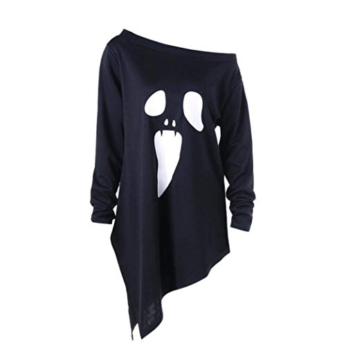 NPRADLA Womens Asymmetrical Long Shirt Halloween Long Sleeve Ghost Print Sweatshirt Pullover Tops Blouse