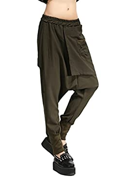 ELLAZHU Women Unique Design Pockets Black Harem Hippie Hip-hop Pants GY1054