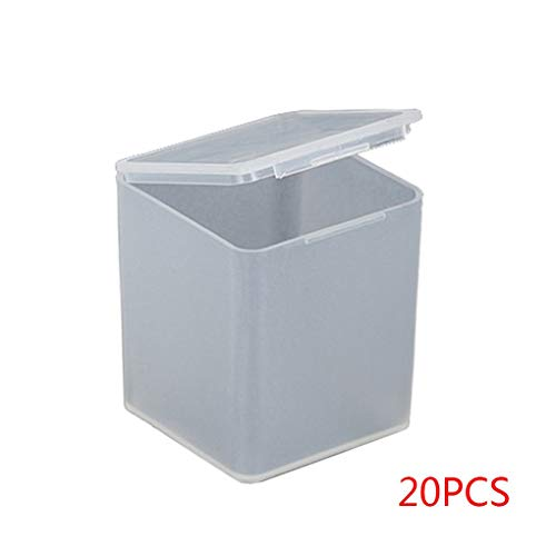 Fornateu 20pcs Platz transparente PP-Plastikkasten-Komponenten Werkzeugabdeckung Deckel Mini Storage-Kasten-Behälter - Storage-komponenten