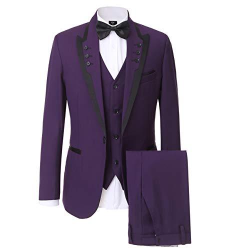 YSMO Herren Slim Fit Anzug Blazer Jacke Tux Weste Hose 3-teiliges Set -