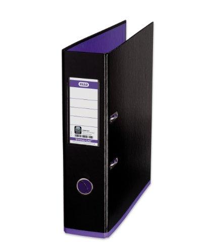 ELBA Ordner myColour 10er Pack Kunststoffbezug außen und innen 8 cm breit DIN A4 zweifarbig schwarz violett Ringordner Aktenordner Briefordner Büroordner Plastikordner Schlitzordner