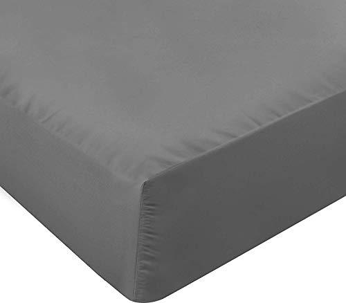 Utopia Bedding Sábana Bajera Ajustable - Bolsillo Profundo - Microfibra Cepillada - (150X200 Cm, Gris)