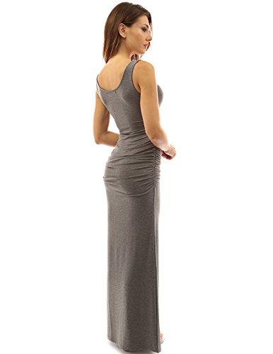 PattyBoutik femmes robe longue d'été sans manches gris chiné