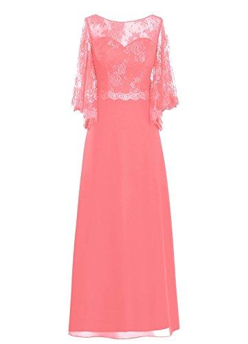 Fanciest Women' Lang Sleeve Spitzen Mother of the Bride Kleides Rot Coral