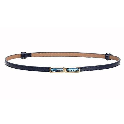 Junjiagao Damengürtel Schmaler Gürtel Volltonfarbe Hakenschnalle Skinny Ledergürtel (Farbe : Blau)