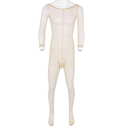 dPois Herren Durchsichtig Body Mesh Ganzkörperanzug Overall Jumpsuit Männer Unterhemd Unterwäsche Bodystocking mit Penishülle Ultradünne Bodysuit Dessous Strümpfe Nude One Size