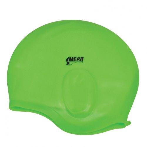 Silikon Badekappe für Erwachsene Bademütze mit Ohrenschutz Badehaube Unisex , Farbe: Grün, Größe: Einheitsgröße