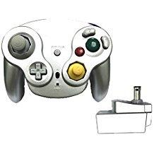 Poulep Classic 2,4 G Wireless Controller Gamepad mit Receiver Adapter für Wii U Gamecube NGC GC (Silver1) (Fußball Für Die Ps2)