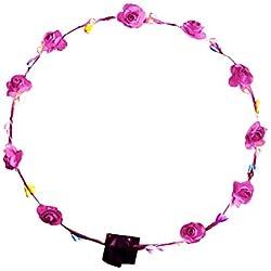 Homeofying Diadema de flores bohemias hecha a mano con luces para el cabello, estilo floral, ideal para bodas, festivales o fiestas