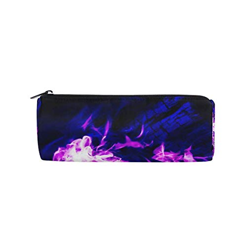 Pencil Case Red Flames Cool School Pen Pouch Office Zippered Pencil Cases Holder Women Makeup Bag