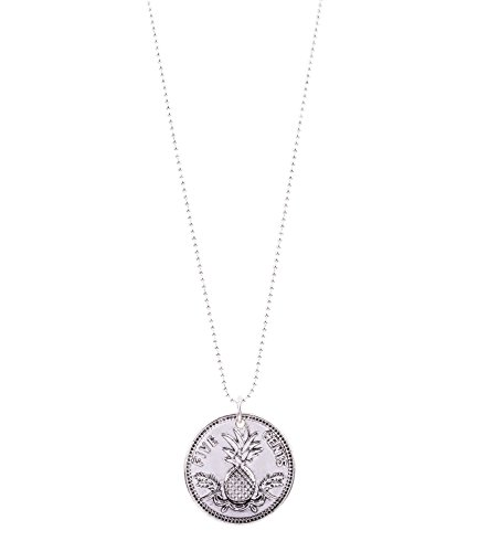 SIX Sommer Damen Halskette, lang, Münzen-Anhänger, Ananas, silber (758-370)