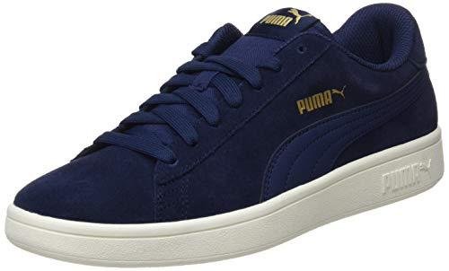 Puma Puma Smash v2, Unisex-Erwachsene Sneakers, Blau (Peacoat-Puma Team Gold-Whisper White), 44 EU