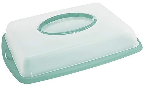 com-four® Kuchencontainer zum Aufbewahren und Transportieren von Backwaren - Transport-Box, Kuchenbehälter und Lebensmittelbox mit Tragegriffen (türkis)