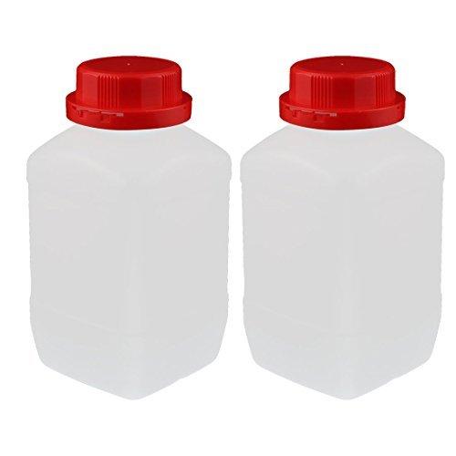 DealMux 2Pcs 1200ml Kunststoff Red Cap-Platz Wide Mouth chemische Probe Reagensflasche
