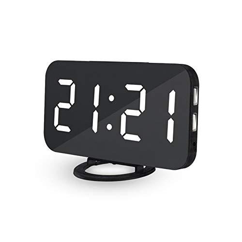 LJ2 LED-Digitalwecker, tragbare LED-Spiegelwecker mit 2 USB-Anschluss und 3 Dimmmodus, Snooze-Funktion für Schlafzimmer, Büro und Nachttisch,D (Groß Nachttische Schlafzimmer-set Von 2)