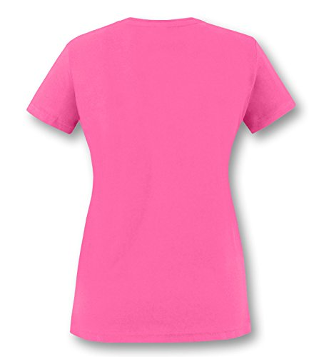 EZYshirt® Make love not war Damen Rundhals T-Shirt Fuchsia/Neongrün