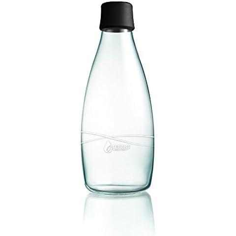 ApS Retap 0,8 Litro tamaño grande cristal de borosilicato botella de agua, negro