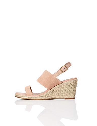 find. Wedge Leather Espadrille Peeptoe Sandalen, Pink), 36 EU (Wedges Schuhe)