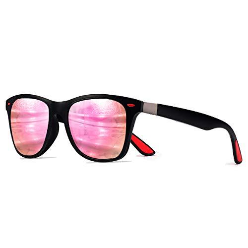 CHEREEKI Polarisierte Mode Sonnenbrille mit UV400 Schutz Unisex Klassische Brille für Herren Damen (Rosa)