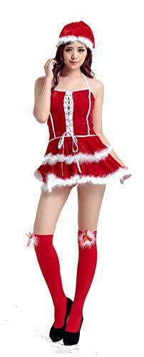 PICCOLI MONELLI Vestito Babbo Natale Donna Sexy in ciniglia e Pelliccia con Cappello Taglia Unica