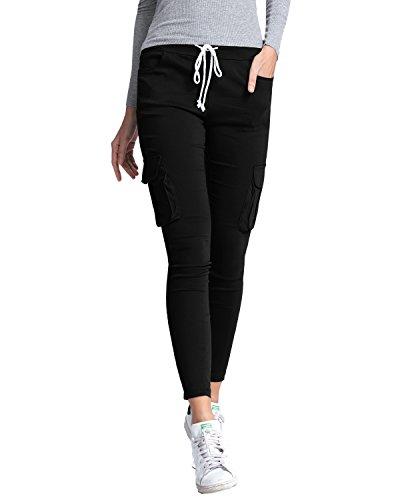 StyleDome Femme Pantalon Poche Cargo Militaire Casual Digne Slim Crayon Skinny Stretch Jambière Legging - Noir - EU 36