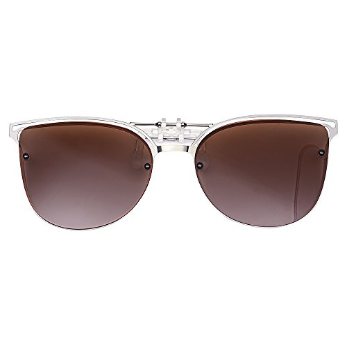 Reversible Polarized Clip Sonnenbrille, Damenmode Cat Eye Vintage Outdoor Sonnenbrille Clips für Brillen für Damen (brown)