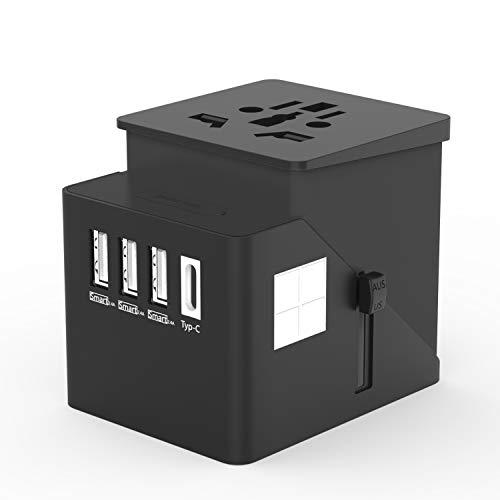 Reiseadapter Reisestecker Steckdose Adapter Stromadapter mit 3 USB + Typ-C Stecker aus 150 Ländern weltweit USA UK EU AU Universal -